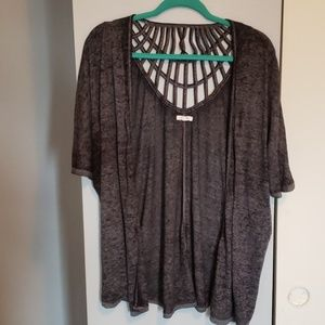 NWOT Maurices dark gray acid wash Cardigan